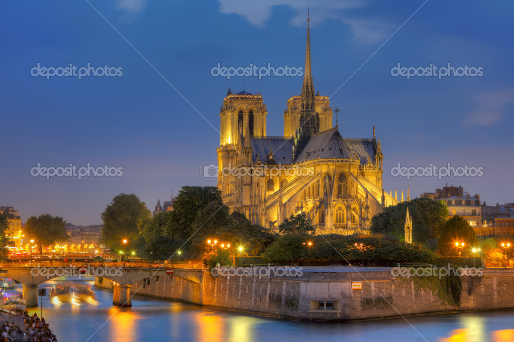 Notre Dame de Paris at night — Stock Photo #6717284