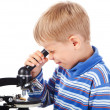 Five years old boy with microscope — Stock Photo