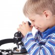 Little boy with microscope — Stock Photo