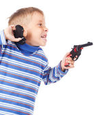 Five years old boy with two guns — Stock Photo