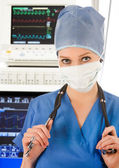 Doctor in intensive care unit — Stock Photo