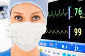 Young female doctor in ICU — Stock Photo