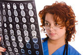 Female doctor with tomogram — Foto Stock