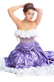 Young woman in ball dress and with diadem — Stock Photo