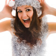 Beautiful santa claus woman — Stock Photo