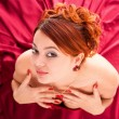 Young attractive woman in red dress — Stock Photo #6096602