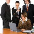Stock Photo: Young business team solving a problem