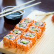 Stock Photo: California sushi rolls with sauce