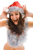 Beautiful santa claus woman — Stock Photo