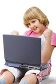 10 year old girl with notebook — Stock Photo