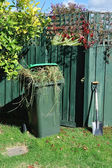 Green bin and spade in backyard — Stock Photo