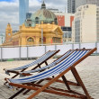 Deck-chair in city - Stock Photo