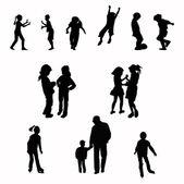 Children silhouettes — Stock Photo