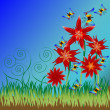 Red flowers with grass and buterflyes — Stock Photo #5986932