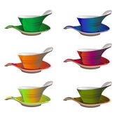 Six tea cups in different colors — Stock Photo