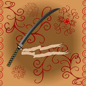 Japanese sword with stylized decor pattern — Stock Photo