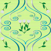 Beautifull green pattern with snowdrop flowers — Stock Photo