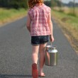 Young girl with milk can — Stock Photo #5939401