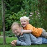 Happy kids in the garden — Stock Photo #5939678