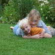 Happy kids in the garden — Stock Photo