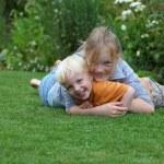 Happy kids in the garden — Stock Photo #5939694