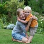 Happy kids in the garden — Stock Photo #5939733