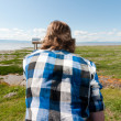 Stock Photo: Mlooking at horizon