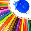 Rainbow of color pencils and stand ladybird — Stockfoto