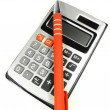 Calculator and pen — Stock Photo