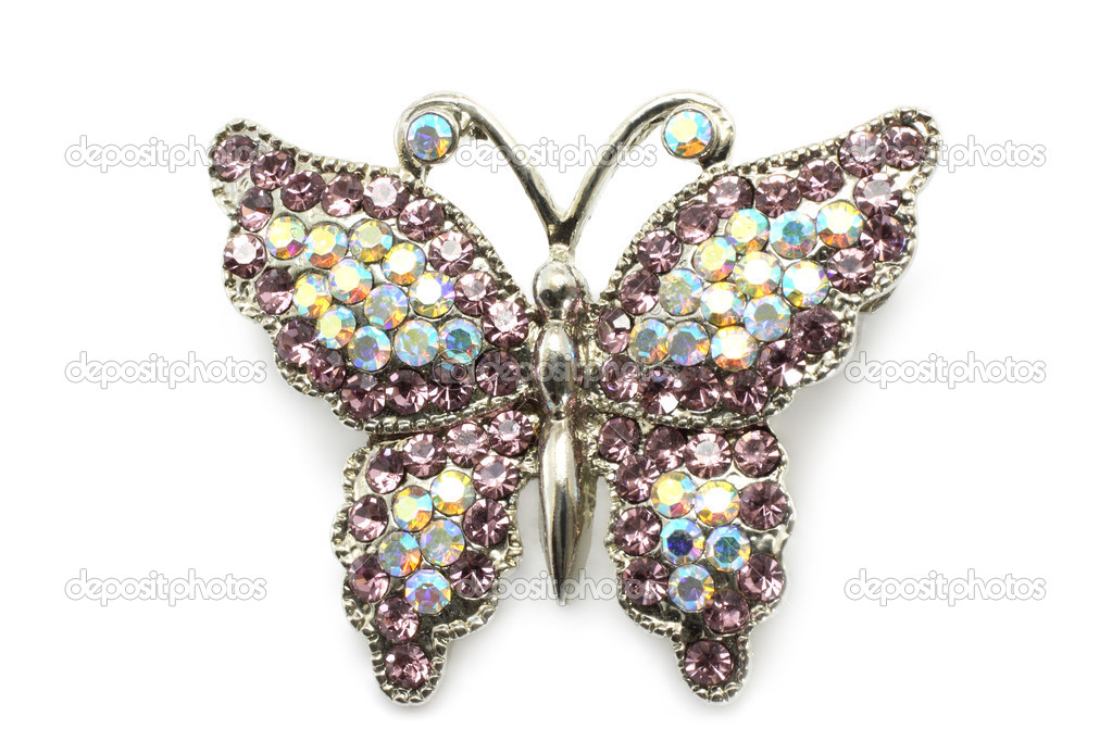 Butterfly brooch on white a background — Stock Photo #6566291