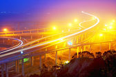 Traffic track on highway in the night — Stock Photo