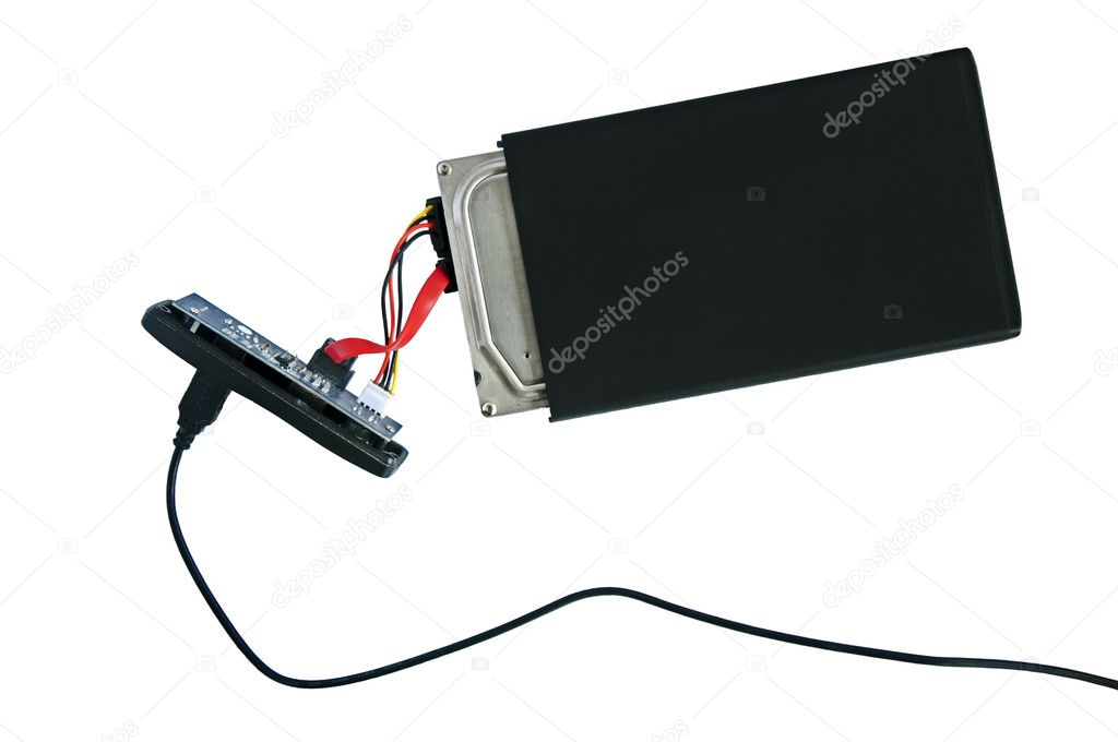 Portable disassembled external hard drive HDD. Isolated on white  — Stock Photo #5944391