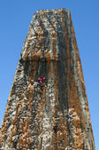 Boy on a big climbing wall — Stock Photo