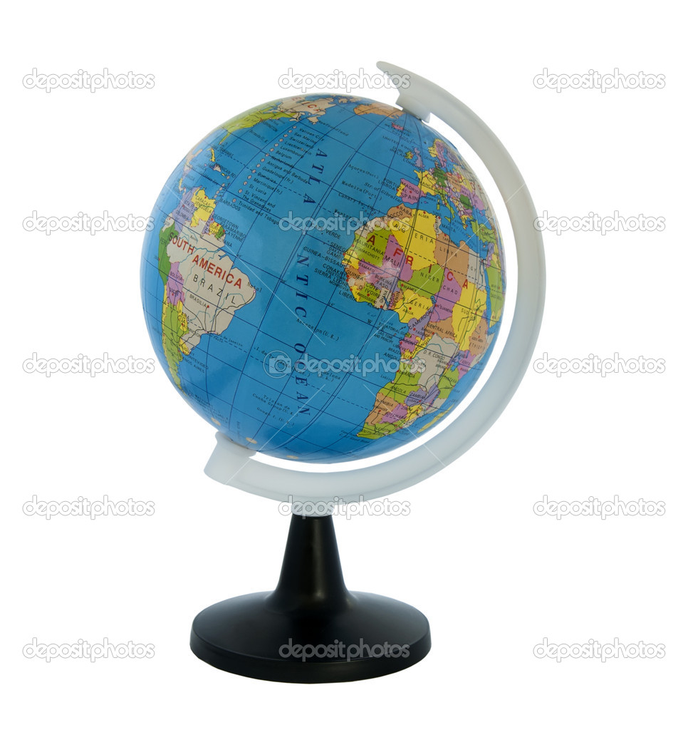Globe on white stand. Isolated white background — Stock Photo #5985953