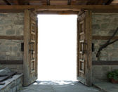 Two opened old wooden dors — Stock Photo