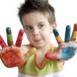 Children colored hands. Little boy hands. — Stock Photo