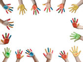 Children painted hands — Foto Stock