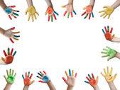 Crianças pintada as mãos — Foto Stock