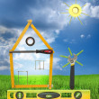 Stock Photo: House with tree and sun made of tools for building.White isolate