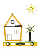 House with tree and sun made of tools for building. — Stock Photo