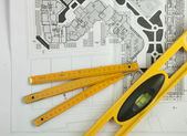 Sketch plan for construction — Stockfoto
