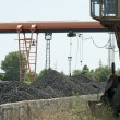 Crane and piles of coal - Stock Photo