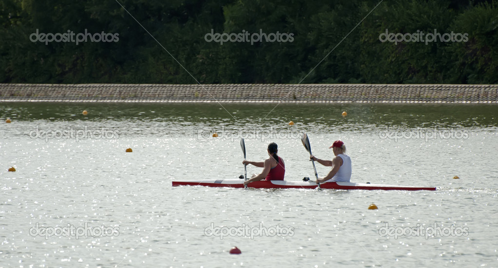 Two rowers in a boat in line — Stock Photo #6314340