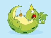 Jolly Green Dragon celebrates its birthday. — Stock Vector