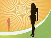 Girl silhouette at sunset — Stock Vector