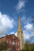 Square Chapel and Church Spire — Stock Photo