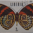 Butterfly Stamp from Liberia — Stock Photo