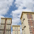 Three Yellow and Cream Council Flats — Stock Photo
