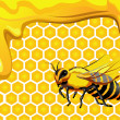 Vector de stock : Bee with drops of honey and honeycomb hexagon shapes