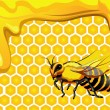 Wektor stockowy : Bee with drops of honey and honeycomb hexagon shapes